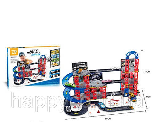Детский гараж 3 этажа, 4 машинки игрушка для мальчиков