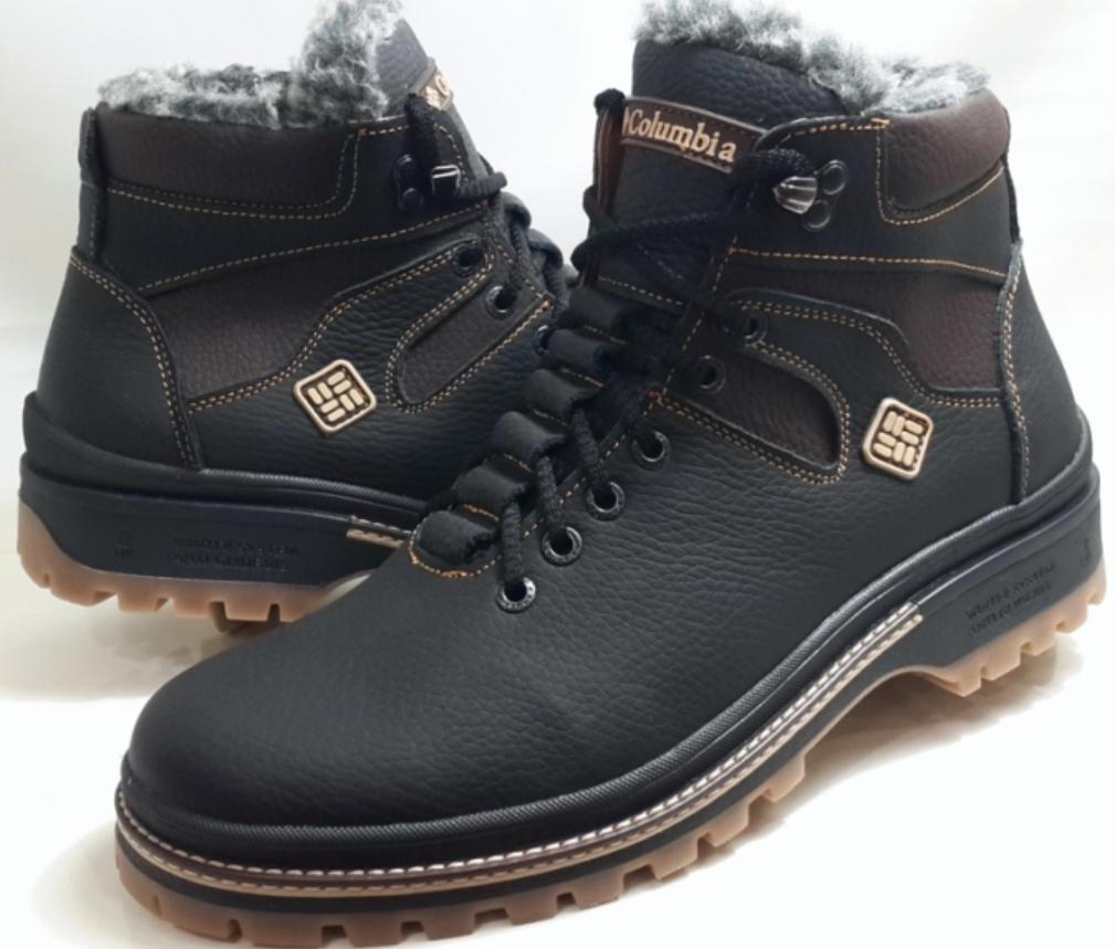 Кожаные ботинки в стиле Columbia (model-333) чёрно-коричневые (шнурок+молния) размеры 41, 42, 44