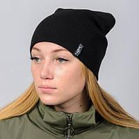 Молодежная шапка Nord унисекс удлиненная черная (669) ***