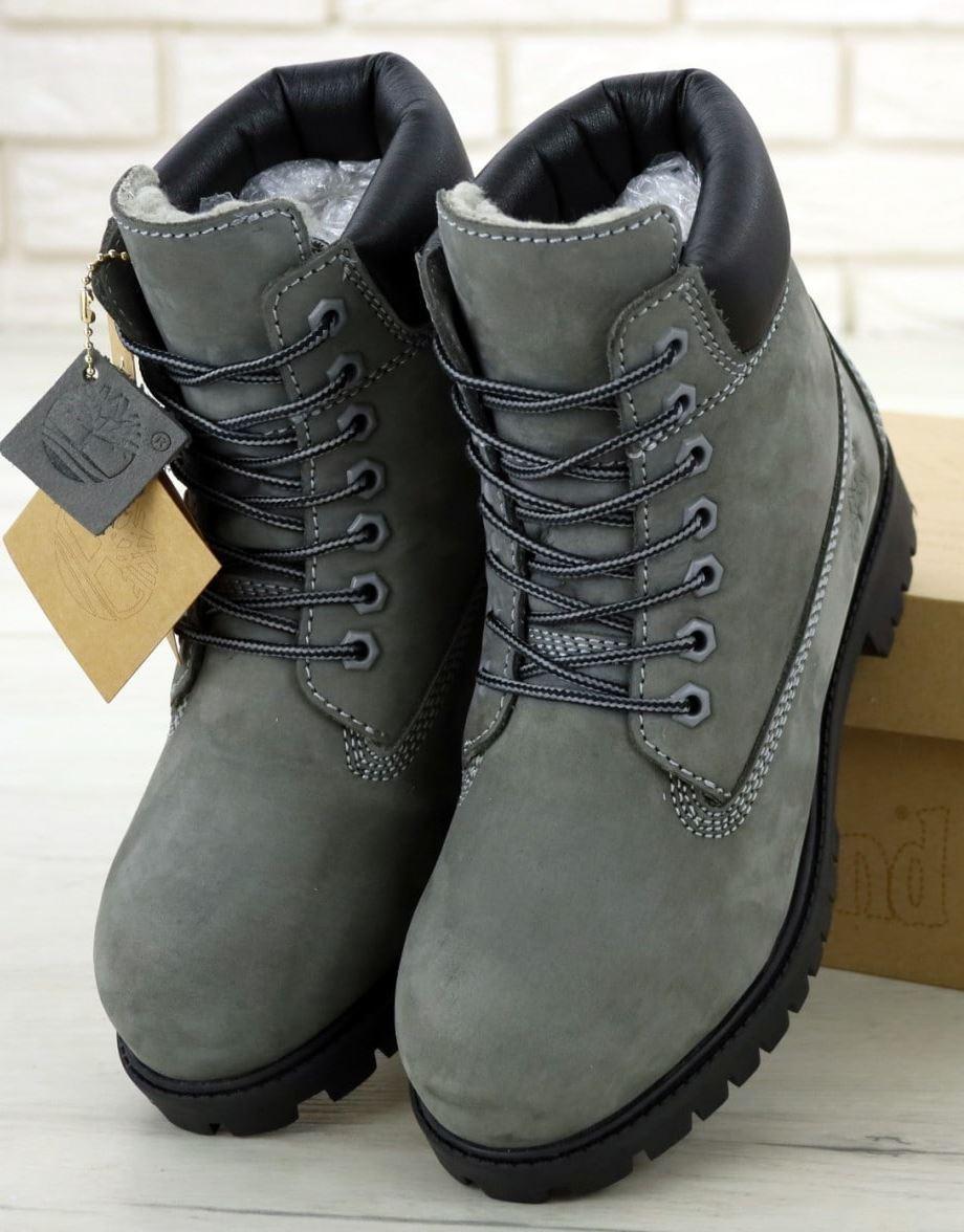 Мужские зимние Ботинки Timberland 6 inch Winter Grey/Black (Тимберленд) с мехом