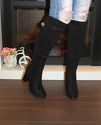Сапоги женские замшевые зимние на каблуке