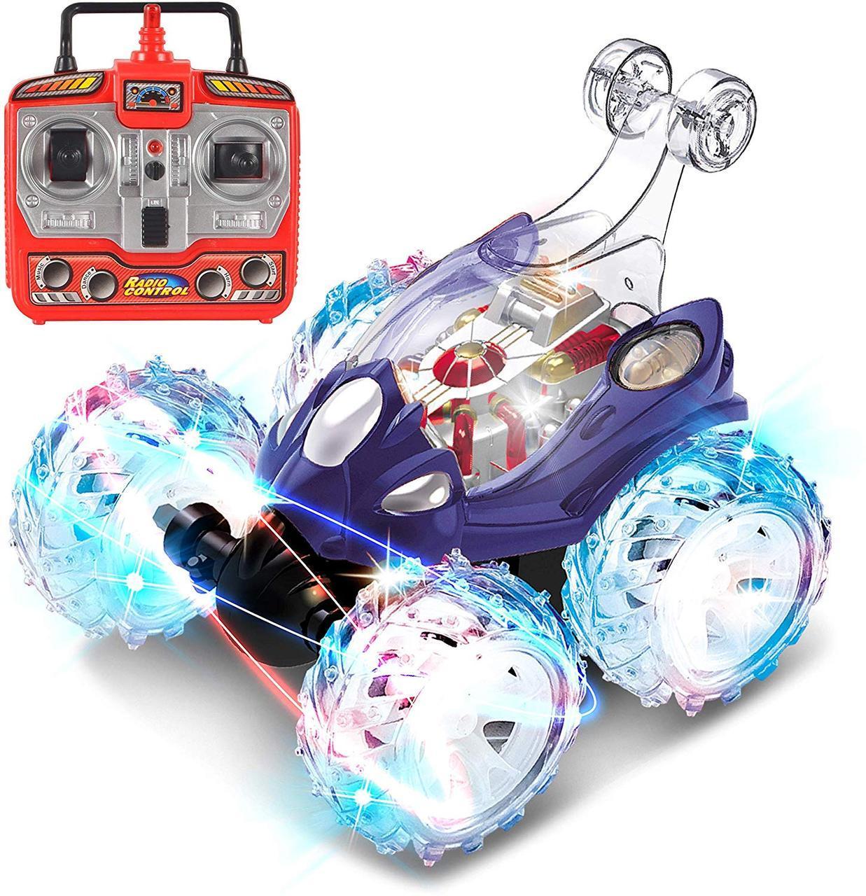 Машина Перевертыш на радиоуправлении светящаяся на Аккумуляторах Трюковая