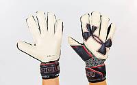 Перчатки вратарские с защитными вставками на пальцы UNDER ARMOUR FB-883-3 (PVC, р-р 9-10, белый-серый)