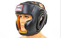 Шлем боксерский с полной защитой кожаный TWIN VL-6630-BK (р-р M-XL, черный)