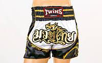 Шорты для тайского бокса и кикбоксинга TWINS TBS-DRAGON-3 (сатин, нейлон, р-р M-XXL, черный)