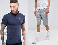 Мужской комплект поло + шорты mizuno синего и серого цвета ,реплика