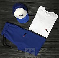 Мужской комплект футболка кепка и шорты Fila синего и белого цвета ,реплика
