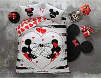 Двуспальное евро постельное белье TAC Disney M&M Amour Ранфорс Fluorescent (простынь на резинке)