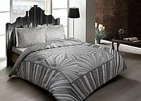 Двуспальное евро постельное белье TAC Venus Grey Сатин