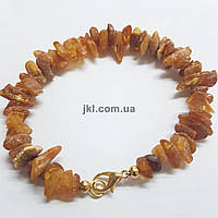 Браслет из камня янтаря крошки на струне ювелирной, размер изделия около 20 см, натуральные камни, желтый