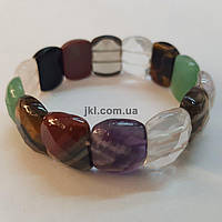 Браслет из натурального камня  на резинке, размер изделия около 17 см, натуральные камни, разноцветный.