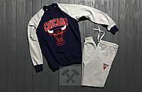 Мужской зимний спортивный костюм , костюм на флисе Chicago Bulls синий с серым ,реплика