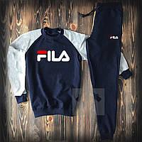 Зимний спортивный костюм , костюм на флисе Fila синий ,реплика