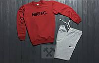 Мужской зимний спортивный костюм , костюм на флисе Nike красный с серым ,реплика