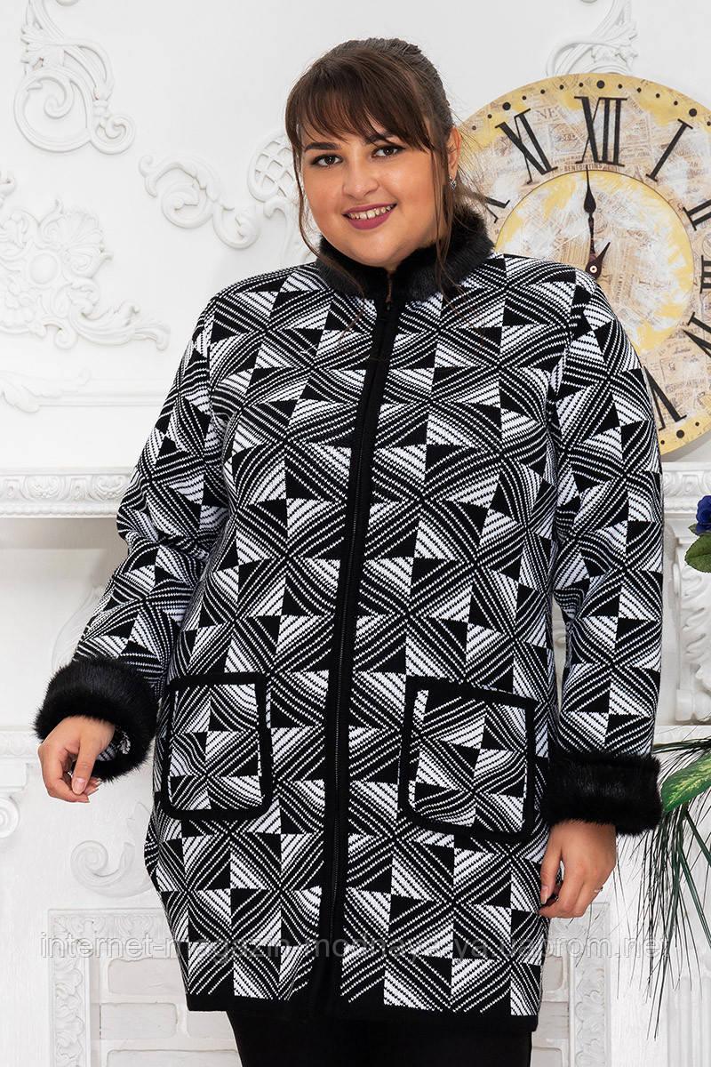 """Кардиган-пальто с мехом """"Стиль №1"""" р. 56-64 черно-белый"""