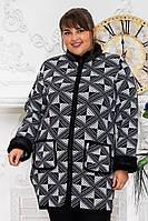 """Кардиган-пальто с мехом """"Стиль №1"""" р. 56-64 черно-белый, фото 1"""