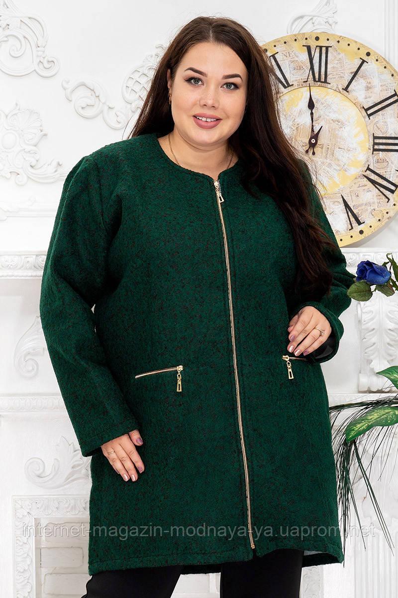 Пальто женское из букле р. 54-62 зеленый