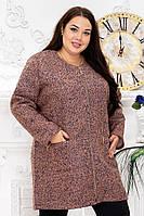 Пальто женское из букле р. 54-62 персик меланж, фото 1