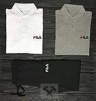Мужской комплект две поло + шорты Fila белого серого и черного цвета ,реплика