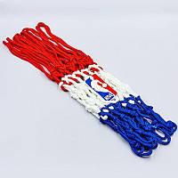 Сетка баскетбольная SPALDING 8219SCNR (полиэстер, 12 петель, цвет бело-красно-синий, в компл. 1шт, вес 220гр)