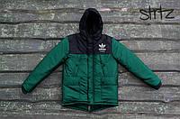 Мужская зимняя парка Adidas черного и зеленого цвета