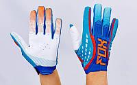Кроссовые перчатки текстильные FOX BC-4829-2 (закр.пальцы, р-р M-XL, синий-оранжевый-белый)