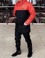 Мужская зимняя парка Nike черного и оранжевого цвета