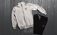 Зимний спортивный костюм, теплый костюм Adidas серого и черного цвета, реплика