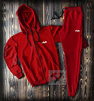 Зимний спортивный костюм, теплый костюм FILA красного цвета, реплика