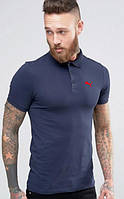 Мужская футболка поло Пума синяя, футболка поло Puma синяя, Турецкое качество; ФП-10058