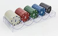 Фишки для покера в пластиковом боксе IG-6892 (100 фишек с номиналом, 4гр)