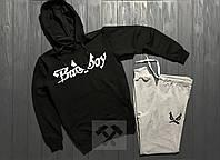 Зимний спортивный костюм, теплый костюм Bad Boy черного и серого цвета, реплика