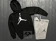 Зимний спортивный костюм , костюм на флисе Jordan серого и черного цвета ,реплика