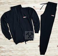 Зимний спортивный костюм, теплый костюм Fila черного цвета, реплика