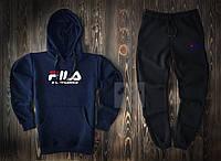 Зимний спортивный костюм, теплый костюм FILA черного и синего цвета, реплика