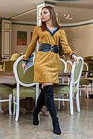 Платье с мысом из ангоры № 19-118 р. S M L горчица, фото 1