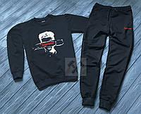 Зимний спортивный костюм, теплый костюм Supreme черного цвета, реплика