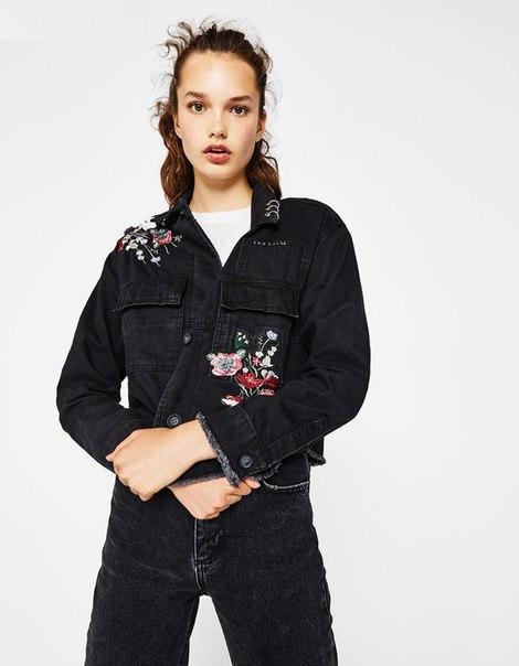 Женская джинсовая куртка с вышивкой и с необработанными краями