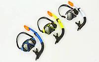 Набор для плавания маска с трубкой M266-SN138-SIL (термостекло, силикон черный, цвета в ассортименте)