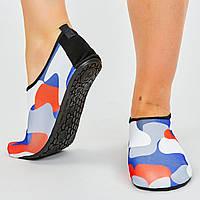 Обувь Skin Shoes для спорта и йоги Камуфляж PL-0418-BKR (неопрен, размер S-3XL-34-45-20-29см, черный-белый-красный)