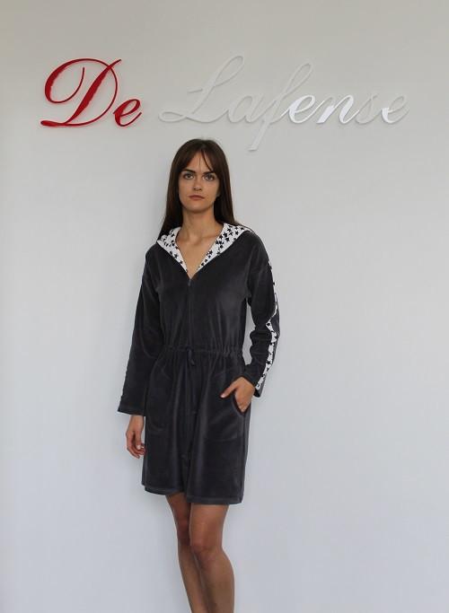 Велюровый халат женский DE LAFENSE арт 438 размеры.