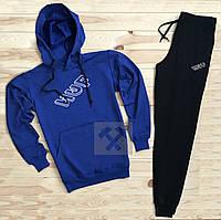 Мужской зимний спортивный костюм, теплый костюм Huf синего и черного цвета, реплика