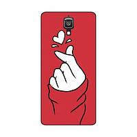 Чехол с принтом для Xiaomi Mi4 (AlphaPrint - Знак сердечка) (Сяоми (Ксиаоми, Хиаоми) Ми 4, Ми4)