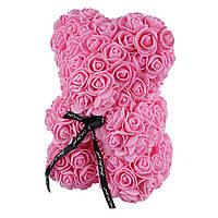 Подарочный Мишка из розочек, розовый