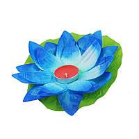 Шелковый подсвечник Лотос, голубой
