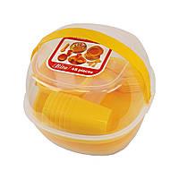 Набор пластиковой посуды для пикника 48 предметов, оранжевый