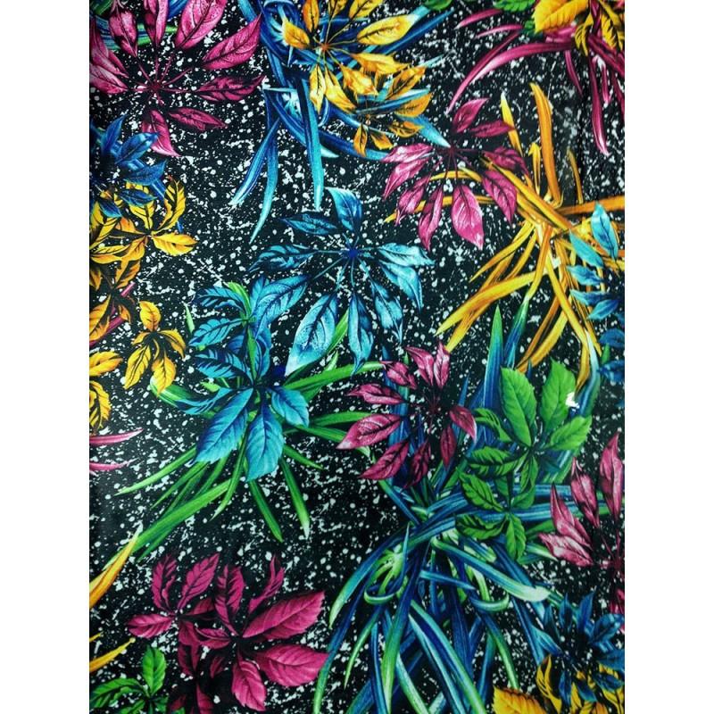 Шифон принт - черный фон разноцветные тропические листья, голубой, желтый, розовый, зеленый