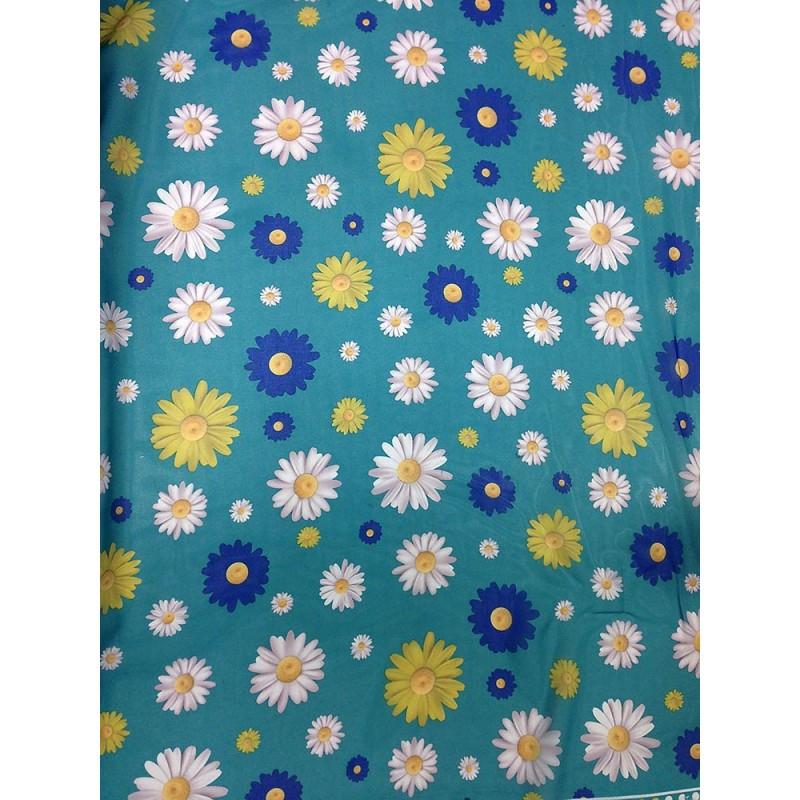 Шифон принт - мятный фон белые, желтые, синие ромашки