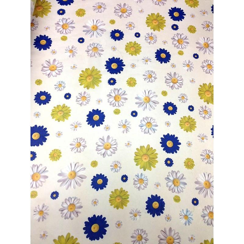 Шифон принт - молочный фон белые, желтые и синие ромашки