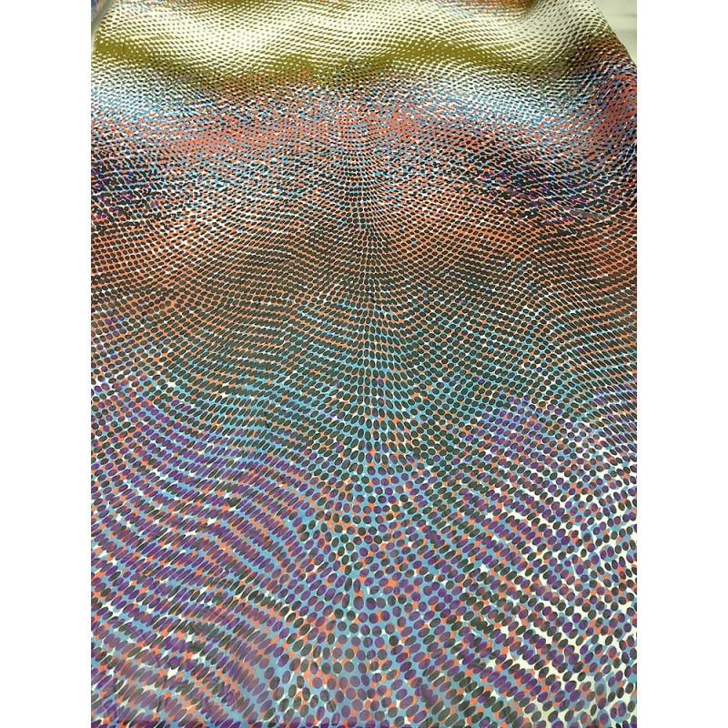 Шифон принт - купон односторонний, фон бежевый мелкие черные, оранжевые, фиолетовые горошины